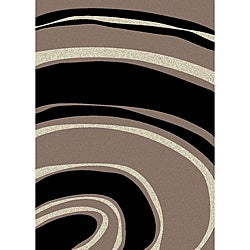 Brilliance Curves Purple/ Black Area Rug (3'3 x 4'11)