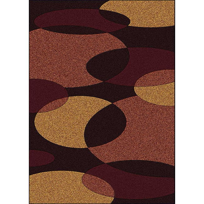 Admire Home Living Brilliance Circles Brown Area Rug (5'5 x 7'7)