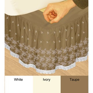 Grand Luxe 'Hike Up Your Skirt' Embroidered Adjustable 17-inch Drop Queen-size Bedskirt