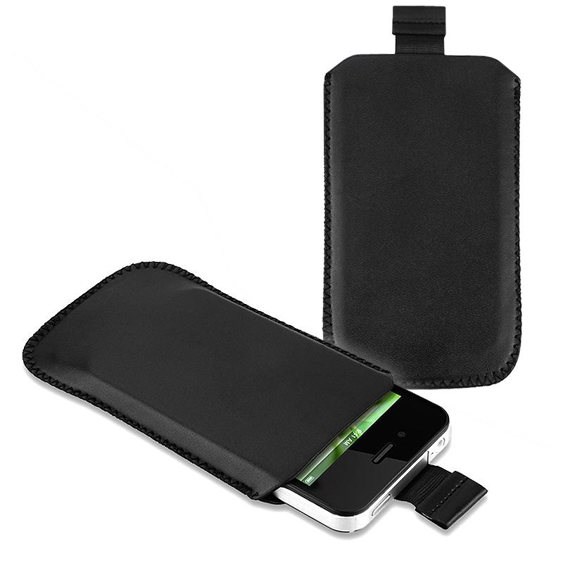 INSTEN Black Pull Leather Pouch for Apple iPhone 4 AT&T/ Verizon