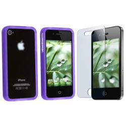 Purple TPU Rubber Skin Case/ Screen Protector for Apple iPhone 4