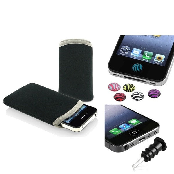 INSTEN Soft Pouch/ Home Buttons/ Headset Dust Cap for Apple iPhone 4