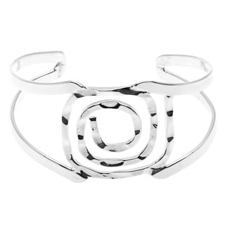 Handcrafted Silver Overlay Square Spiral Bangle Bracelet (Mexico)