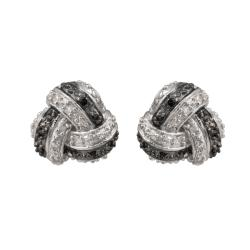 Sterling Silver 1/4ct TDW Black and White Diamond Knot Earrings (J-K, I2-I3)