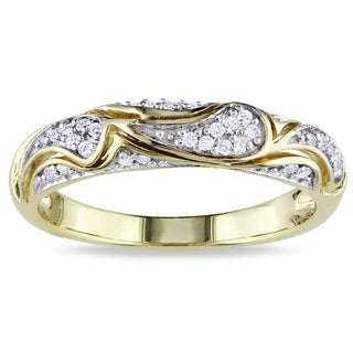 Miadora 10k Yellow Gold 1/10ct TDW Round-cut Diamond Ring (G-H, I2-I3) with Bonus Earrings