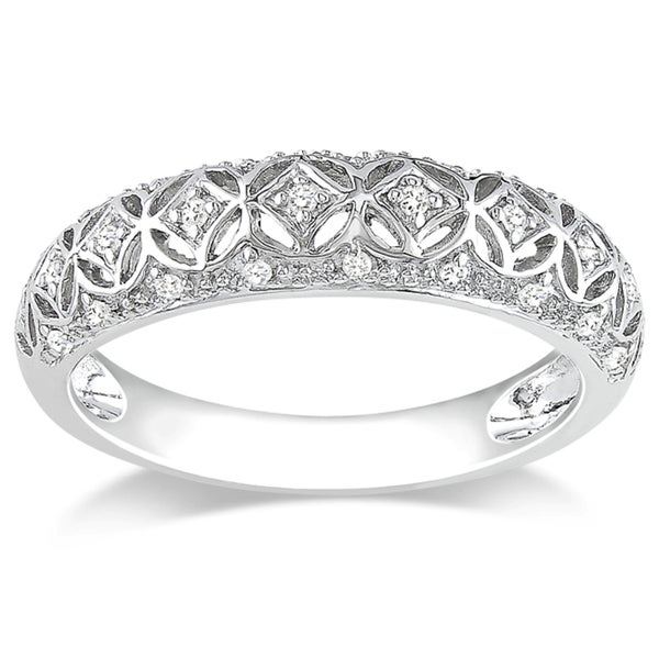 Miadora 10k White Gold 1/10ct TDW Round-cut Diamond Ring (G-H, I2-I3)