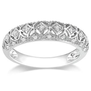 Miadora 10k White Gold 1/10ct TDW Round-cut Diamond Ring (G-H, I2-I3)