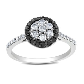 Miadora 10k White Gold 1/2ct TDW Black and White Diamond  Ring (G-H, I2-I3)