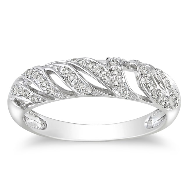 Miadora 10k White Gold 1/5ct TDW Diamond Ring (G-H, I2-I3)