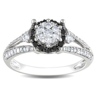Miadora 14k White Gold 1/2ct TDW Black-and-white Tension-set Diamond Ring (G-H, I1-I2)
