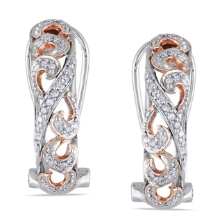 Miadora 10k Two-tone Gold 1/5ct TDW Diamond Earrings