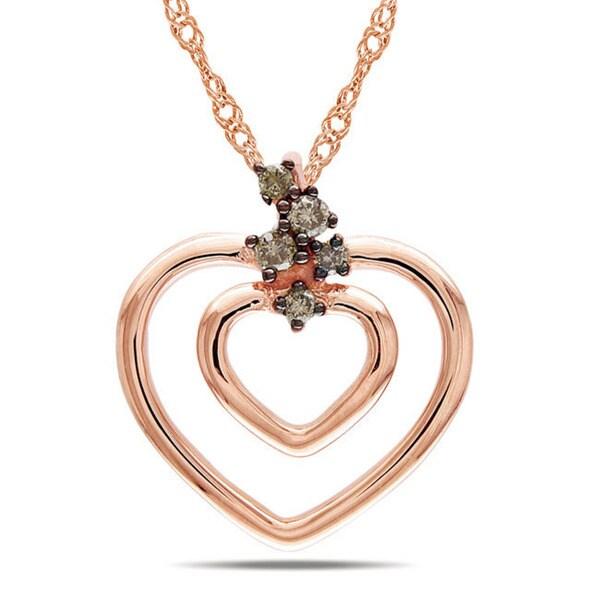 Miadora 10k Pink Gold Brown Diamond Accent Heart Necklace