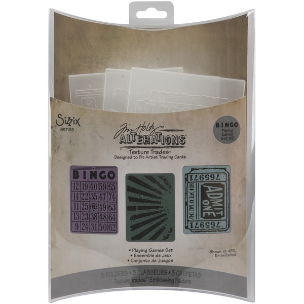 Sizzix Playing Games Texture Trades Embossing Folders (Pack of 3)