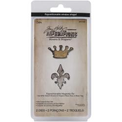 Sizzix Movers & Shapers Magnetic Die Set 2/Pkg By Tim Holtz-Crown & Fleur