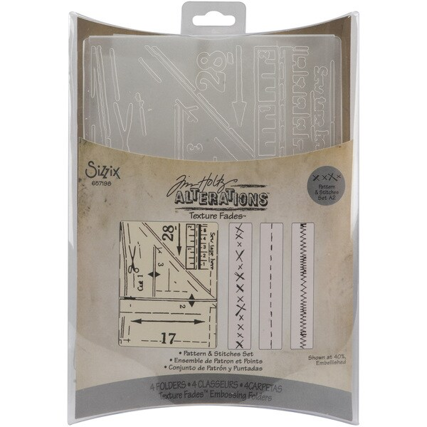Sizzix Texture Fades Embossing Pattern and Stitches Folders (Pack of 4)