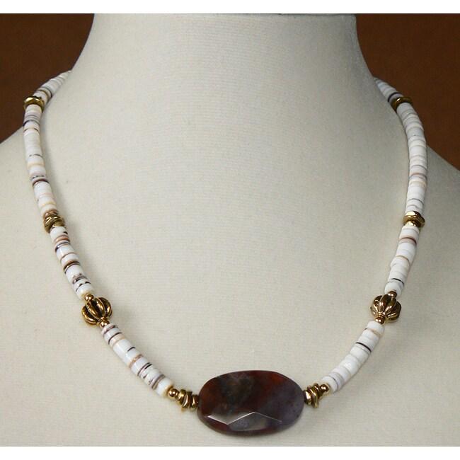 Gold Overlay 'Mauna Loa' Stone and Shell Necklace