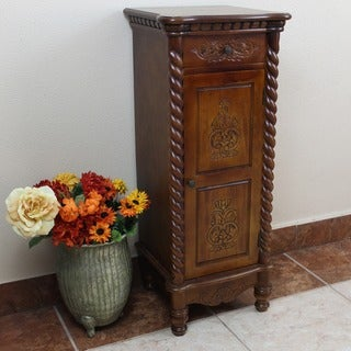 International Caravan Windsor Carved Wood Two-drawer Tall Cabinet