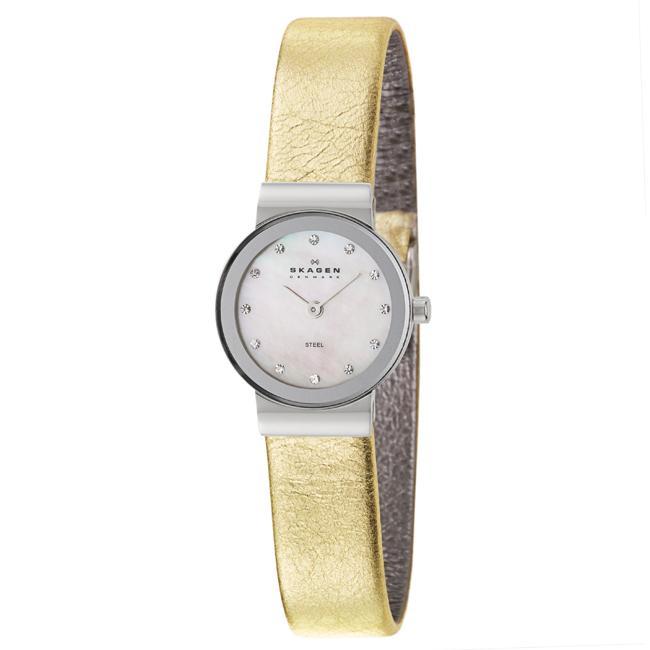 Skagen Women's 'Glitz' Stainless Steel and Gold Leather Crystals Quartz Watch