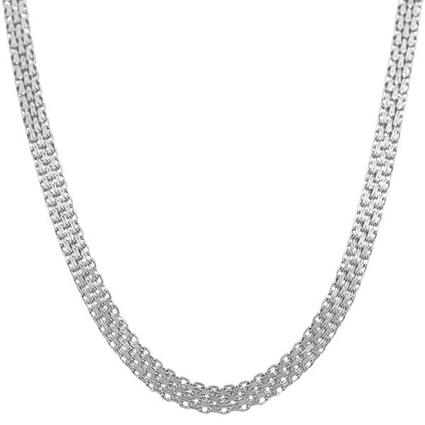 Fremada 14k White Gold Bizmark Chain (16-20 inch)