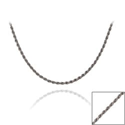 Mondevio Black Rhodium Over Silver 24-inch Twisted Rope Chain Necklace