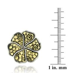 Mondevio Two-tone Sterling Silver Flower Ring