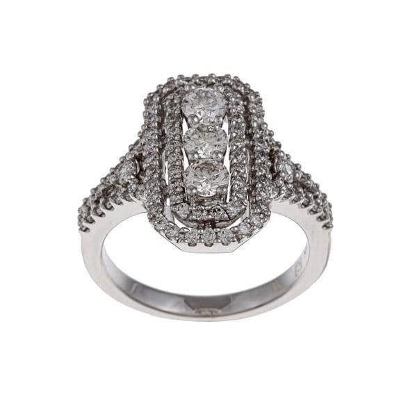 Kabella 14k White Gold 1 1/3ct TDW Diamond Cocktail Ring (G-H, SI1-SI2)
