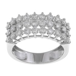 18k White Gold 1 2/5ct TDW Multi Row Diamond Ring (G-H, SI1-SI2)