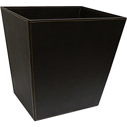 Organize It All Contemporary Faux Leather Chocolate Brown Wastebasket