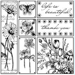 Magenta 'Life Is Beautiful' Cling Stamps