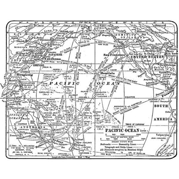 Tim Holtz 'World Map' Red Rubber Stamp