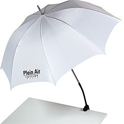 Plein Air White Nylon Chiffon Goose-neck Artist Umbrella by Jullian