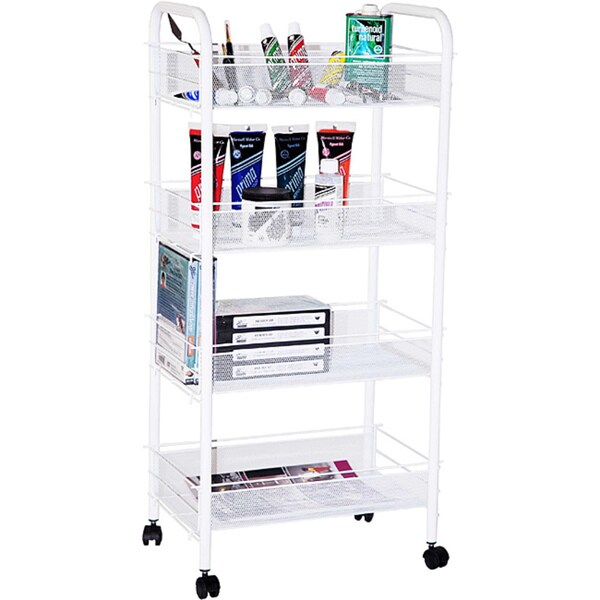 Indigo White Steel Four-shelf Mobile Organizer/Storage Taboret