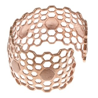 La Preciosa Women's Rose-goldtone Wide Honeycomb Cuff Bangle