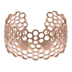 La Preciosa Women's Rose-goldtone Wide Honeycomb Cuff Bangle
