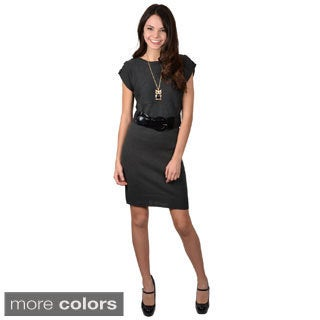Ci Sono by Adi Juniors Knit Belted Short-Sleeve Dress with Boatneck