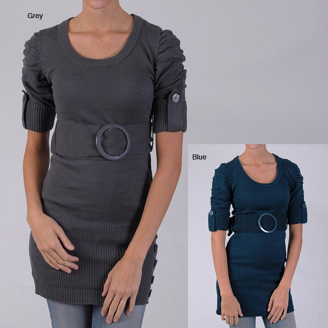 Ci Sono by Adi Junior's Scoop Neck Belted Tunic