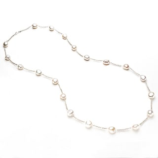 Pearlyta Baroque Cultured White Pearl Necklace (13-14 mm)