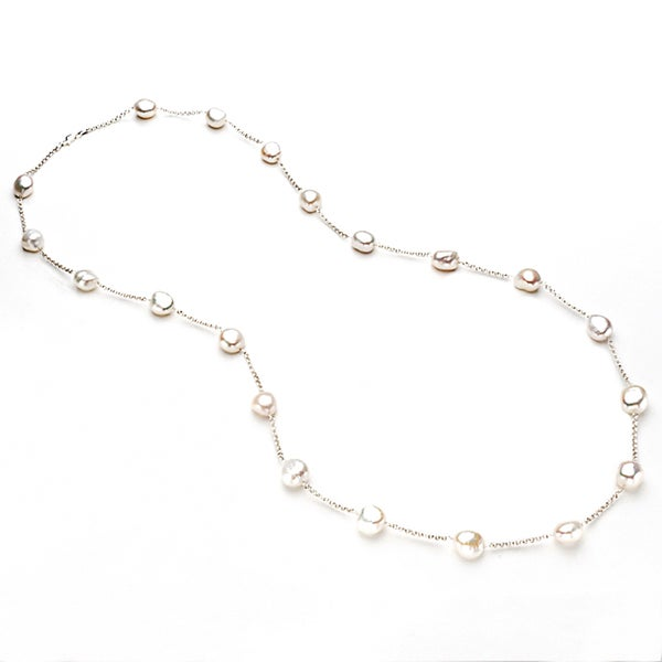 Pearlyta Sterling Silver Baroque Cultured White Pearl Chain Necklace (13 - 14 mm)