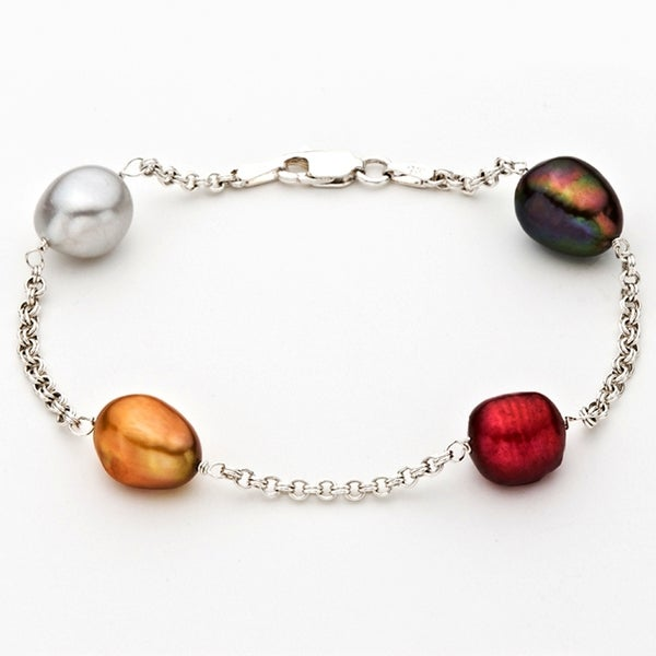 Pearlyta Multicolored FW Baroque Pearl Tin Cup Rolo Chain Bracelet (9-10 mm) 8343733
