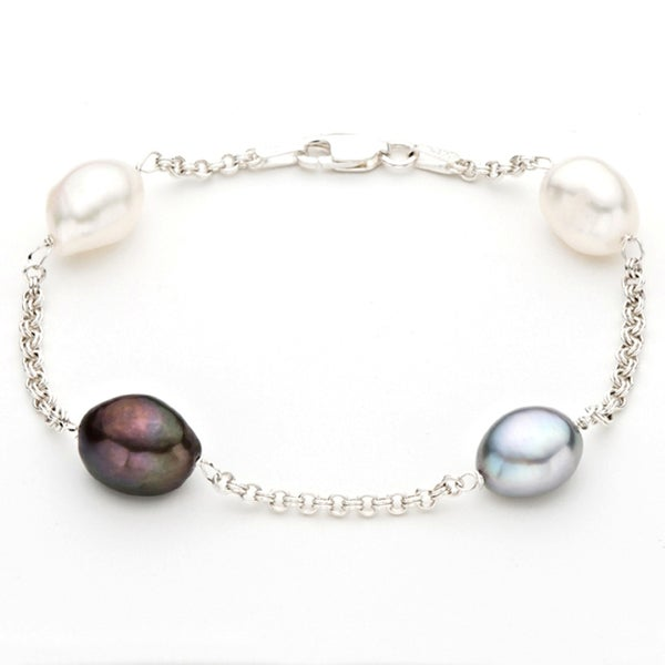 Pearlyta Silver Multi-colored Freshwater Baroque Pearl Chain Bracelet (9-10 mm)