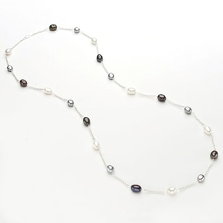 Pearlyta Sterling Silver Multi Colored Freshwater Pearl Tin Cup Necklace (9-10 mm)