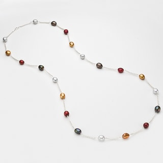 Pearlyta Silver Multi-colored FW Baroque Pearl Tin Cup Necklace (9-10 mm)