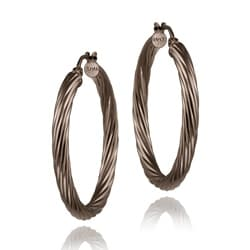 Mondevio Brown Rhodium over Sterling Silver Diamond-cut Hoop Earrings