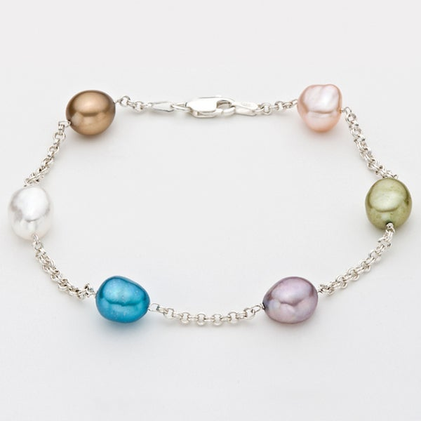 Pearlyta Sterling Silver Multi-colored Freshwater Baroque Pearl Tin Cup Bracelet (9-10 mm) 8343754