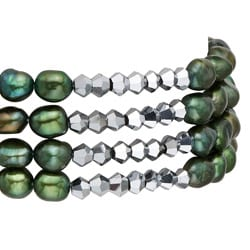 Pearlyta Green FW Baroque Pearl 4-row Stretch Bracelet (5-6 mm)