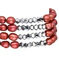 Pearlyta Red FW Baroque Pearl 4-row Stretch Bracelet (5-6 mm)