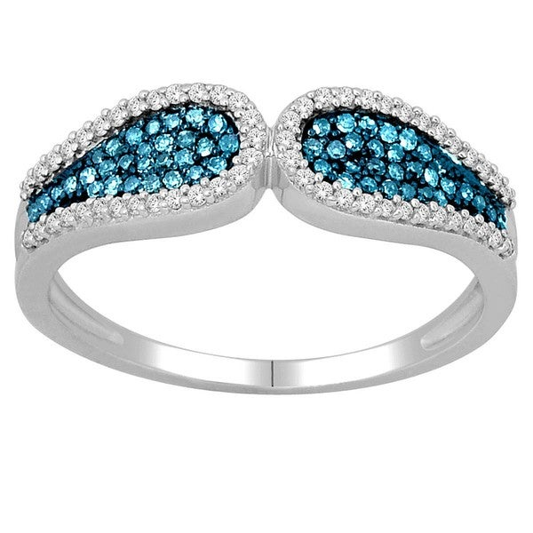 De Couer Silver 1/3ct TDW Blue and White Diamond Fashion Cocktail Ring (H-I, I2)