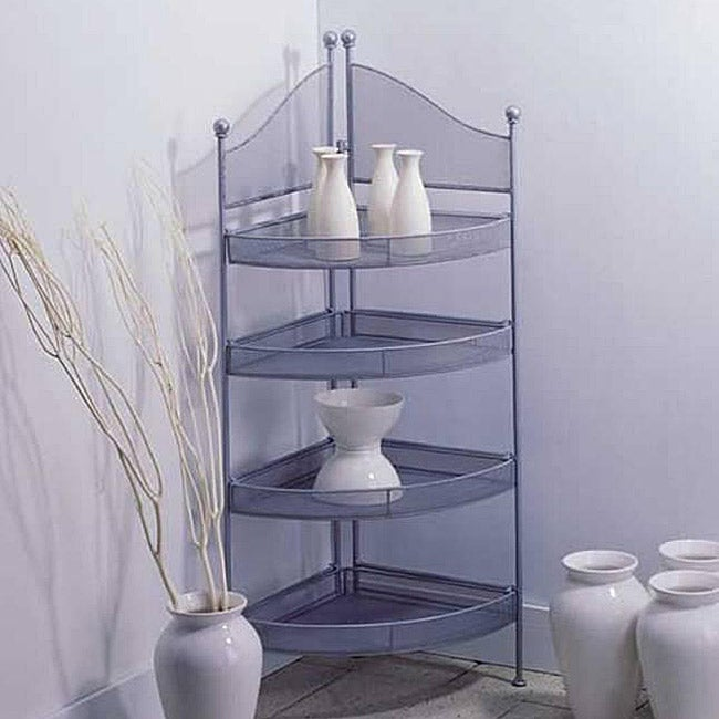 Mesh Steel 4-shelf Corner Unit