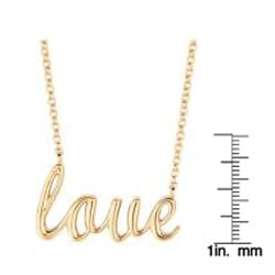 Yellow Gold over Silver Expression 'Love' Necklace