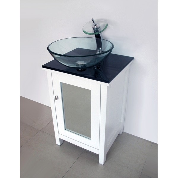 Modern White Solid Wood Mirror Door and Tempered Glass Sink Vanity